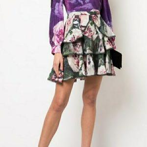 MARCHESA NOTTE Floral Ruffled Mini Skirt